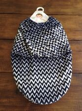 Blankets And Beyond New Baby Swaddle Bag Blanket Blue/White Chevron Velvety Soft