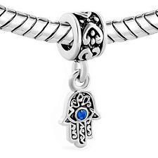 "Sapphire CZ Hamsa, protection Hand, ""Evil Eye"" bead fit European charm bracelet"