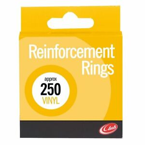 box 250 Club White Opaque Vinyl Reinforcement Rings. Reference C336 yellow box