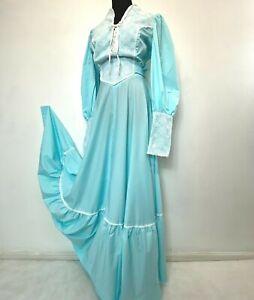 Vintage 1970s Prairie Dress size M L Blue White Lace Up Basque Victorian DS11