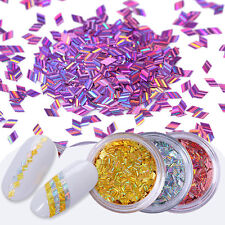 12 Colors Nail Art Glitter Sequins Stripe Holographic Rhombus Sparkly Flakies