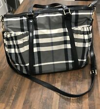 Burberry Beat Check Diaper Bag Tote With Changing Pad