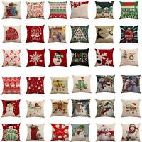 Merry Christmas Xmas Cotton Pillow Cover Sofa Throw Cushion Cover Home Decor NEW