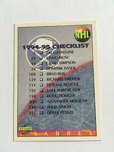 1994-95 Score Hockey Card #264 Buffalo Sabres Calgary Flames Dual Checklist SP