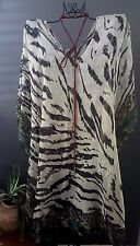 SILK BLEND LONG ANIMAL PRINT CAFTAN KAFTAN RESORT CASUAL BOHO BATWING TOP. OSFA