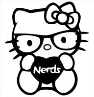 Decal Vinyl Truck Car Sticker - Hello Kitty Heart / Love Nerds