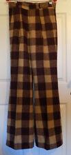 Vintage Disco Era Heavy Wool Slacks Pants Brown Plaid Sears W30 Wide Legs