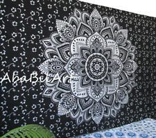 Indian Black Silver Ombrey Mandala Hippie Small Wall Hanging Decor Tapestry