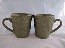 Signature Home Grown Stoneware Riviera Van Beers Coffee Cup Mugs~ Olive Green 1
