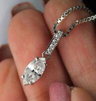 .98CT MARQUISE DIAMOND 18K WHITE GOLD PENDANT & 14K WHITE GOLD NECKLACE