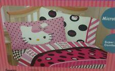 Hello Kitty Dots Beautiful Black Pink Twin Sheet Set 3-Pc Bedding Microfiber NIP