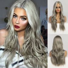 EASIHAIR Long Grey Ombre Wig Women Wavy Synthetic Wigs Hair Party Cosplay Wigs