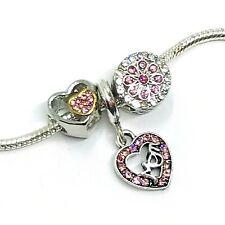 Mom Pink Rhinestone Heart Flower Dangle Charms European Bead fit Bracelet 3pc