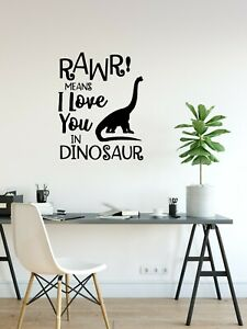 #1 RAWR! I love you in dinosaur//Removable Vinyl Quotes Stickers//Wall Decal