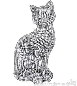 Glitzy glittery silver diamante sitting Cat ornament decoration Cat lover gift