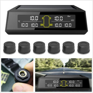 Car Truck Solar Wireless Tire Pressure Monitoring System LCD Display W/6 Sensors