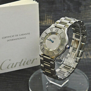 Must de Cartier 21 Stainless Steel 1330 Men's  Quartz Wrist Watch #67 Rise-on
