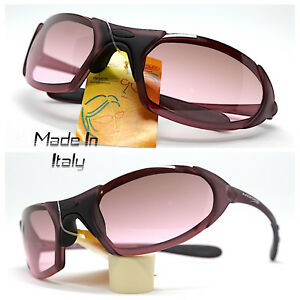 Made IN Italy Sunglasses Men Sportivo Wrap Bordeaux Black Mountain Bike