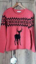 Next ladies coral fairisle/ stag patterned sweater size 12 petite