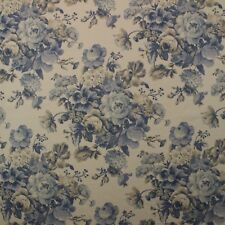 "COVINGTON FLORAL BOUQUET CHINA BLUE MULTIPURPOSE LINEN FABRIC BY YARD 54""W"