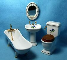 Dollhouse Miniature Bathroom Porcelain 4 Pc Set Purple Flowers Design ~ T5245