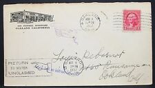 US Gas Station Cachet ADV Cover Oakland Unclaimed Returned 1932 USA Brief (Y-388