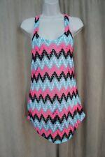Miken Swim Cover-Up Sz XS Black Aqua Crochet Tunic Net Beach Cover I9962K555