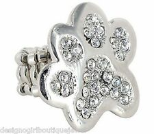Paw Print Clear Crystal Silver-tone Stretch Ring Dog Cat