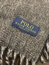Polo Ralph Lauren Wool Scarf Made In Italy Grey Herringbone Green Yellow Plaid