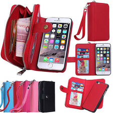 Leather Wristlet Cash Clutch Wallet Phone Case Cover For iPhone & Samsung Galaxy