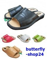 Womens Leadies 100% Natural Leather Slippers Mule Sandals Flip-Flop Size 3-7
