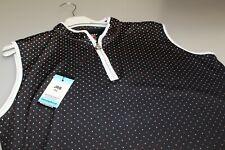 JRB Golf Sleeveless 1/4 Zip Shirt Black + Amber Glow Orange Spot/Trim L / XL New