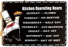 Fat Chef Kitchen Operating Hours Kitchen Sign Cucina Bistro Wall Hanging Plaque