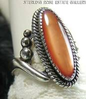VINTAGE OBLONG HAND CRAFTED GOLD STONE STERLING SILVER 925 ESTATE RING size 6.50