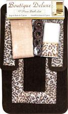 Modern Leopard Safari Animal Print 17 Pc Bath Rug Shower Curtain Hooks Towel Set