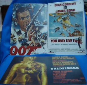 3 Reproduction Porcelain Enamel 007 James Bond Sign Boards From England 2000