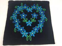 """Vtg Crewel Throw Pillow Cover Black Velvet Blue Flowers Handmade 15x16"""""""