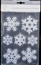 Flocked Frosted Snowflake Christmas Window Decorations Stickers Glitter Home