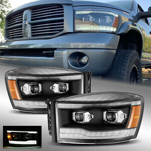 Fit 06-09 Dodge Ram LED DRL Dual Projector Headlights Black Left&Right