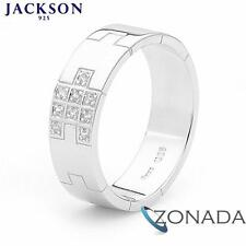 Simulated Diamond Jackson 925 Sterling Silver Men's Gent's Wedding Rings Size S