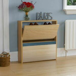 Welham 2 Drawer Shoe Cabinet Mirrored Storage Cupboard Footwear Stand Rack Oak