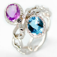 Unique Jewelry Natural Blue Topaz-Amethsyt 925 Sterling Silver Ring / RVS25