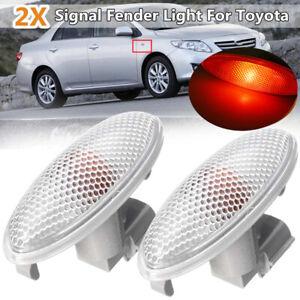 2x Fender Side Marker Turn Signal Lamp Light For Toyota Corolla Camry Yaris RAV4
