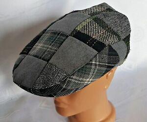 VINTAGE AUTHENTIC CARROLL'S GRAY IRISH WOOL NEWSBOY CABBIE CAP HAT:US7 1/8;EU57