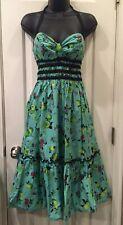Betsey Johnson Fruit Halter Pin Up Rockabilly Shirred Sweetheart Dress 4 Small