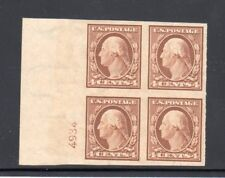 1908-1909 US SC 346 4c Imperf Plate Block of 4 - Double Line Wmk, 3mm MNH