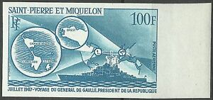 St pierre & Miquelon France Cruiser Warship Colbert Imperf Color Proof ** 1967