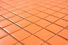 Mosaïque carreau céramique orange brillant cuisine piscine 18-0802_b | 1 plaque