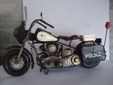 Police Motorbike Tin Plate Model  Hand Painted / Black / Ornament /Gift  no 1