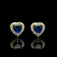 1.1Ct Heart Cut Blue Sapphire & Diamond 14K Yellow Gold Over Halo Studs Earrings
